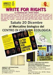 WRITE FOR RIGHTS AL MERCATO SABATO @ Centro di Cultura Ecologica Giovenale   Roma   Lazio   Italia