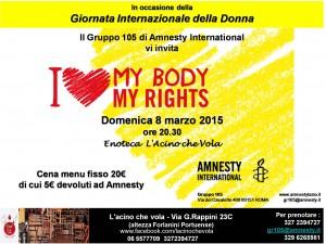 #MyBodyMyRights - Cena Sociale @ Enoteca L'Acino che Vola  | Roma | Lazio | Italia