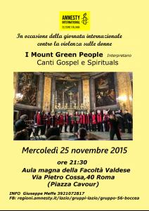 Concerto de I Mount Green People contro violenza sulle donne @ Facoltà Valdese   Roma   Lazio   Italia