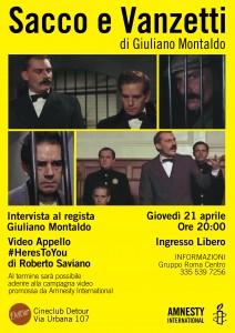 Sacco e Vanzetti il 21 aprile al Detour di Roma @ Cine Detour | Roma | Lazio | Italia