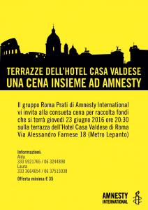 Cena insieme ad Amnesty @ Casa Valdese, Roma @ Hotel Casa Valdese | Roma | Lazio | Italia