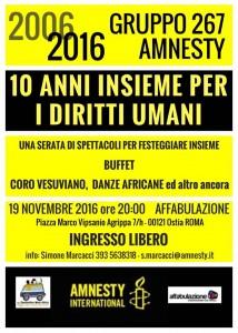 2006-2016, 10 ANNI INSIEME PER I DIRITTI UMANI @Ostia @ Centro Affabulazione   Lido di Ostia   Lazio   Italia